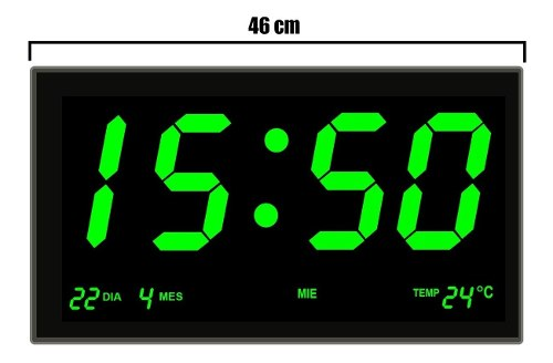 Reloj Digital De Pared Led Números Grandes Verde 46 X 22