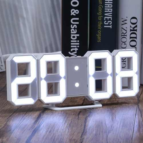 Reloj Digital Luminoso Números Led 3d, Alarma, Usb Blanco