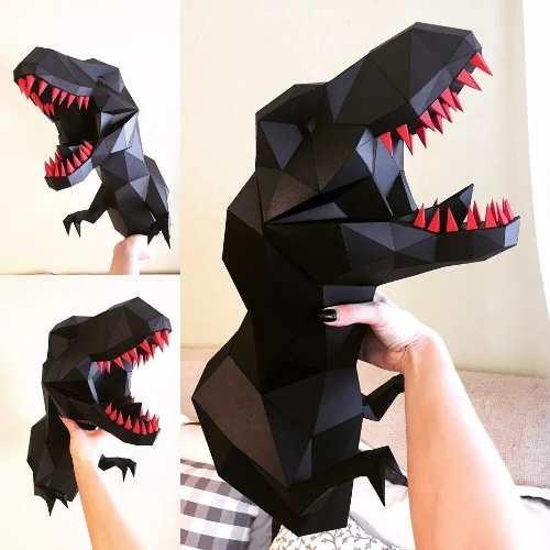 T-rex Pared 3d Papercraft Origami Papiroflexia Papel