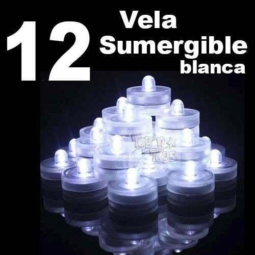 Velas Led Sumergible Luz Blancas 12 Pzas Mesa Adorno Fiesta