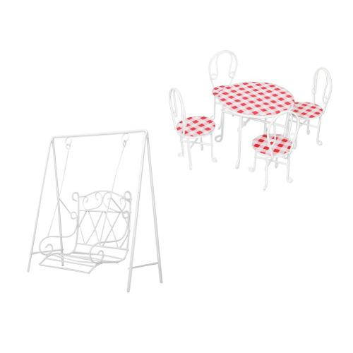 1/12 Escala Dollhouse Miniatura Muebles De Jardín