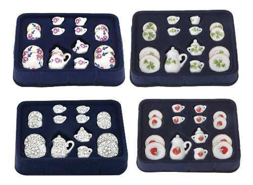 4sets 1:12 Casa De Muñecas Miniatura Porcelana Té Set