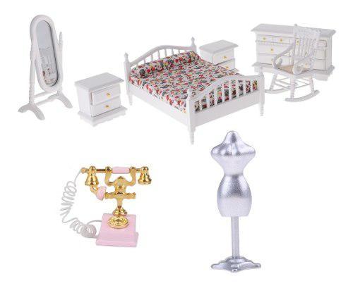 8 Piezas 1/12 Miniaturas Modelo De Muebles De Dormitorio De