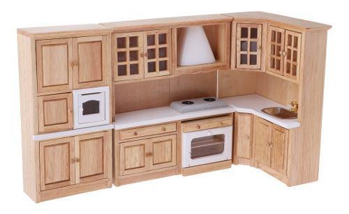 Escala 1:12 Miniaturas Set De Gabinete De Madera De Cocina