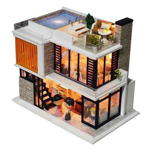 Kit De Casa De Muñecas Bricolaje Miniatura De Madera Con