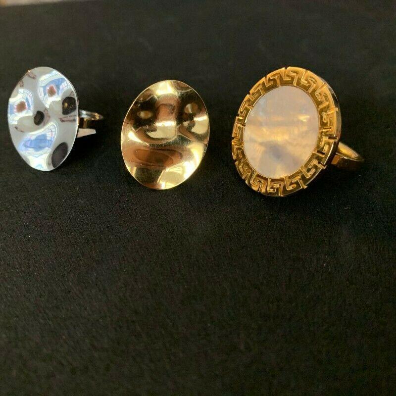Lote de 3 anillos de acero inoxidable