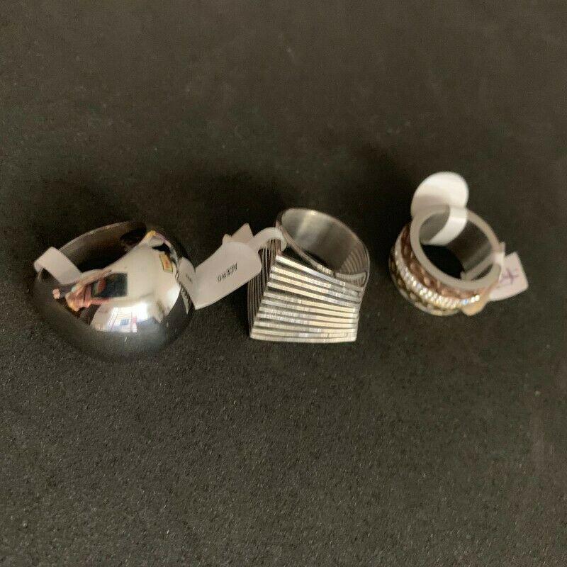 Lote de 3 anillos de acero inoxidable plateado