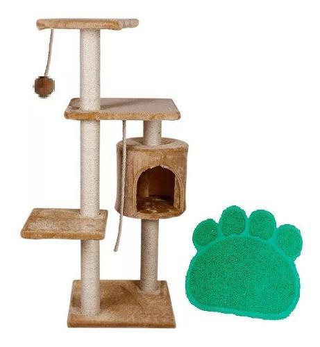 Mueble Rascador Gato Con Casa 112 Cm + Tapete Salida Arenero