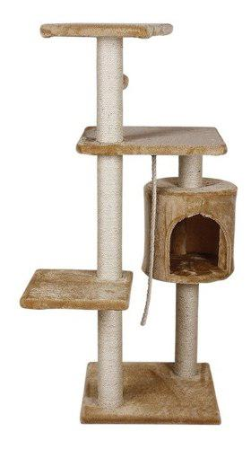Mueble Rascador P/gato Con Casa 4 Niveles Marca Fancy Pets.
