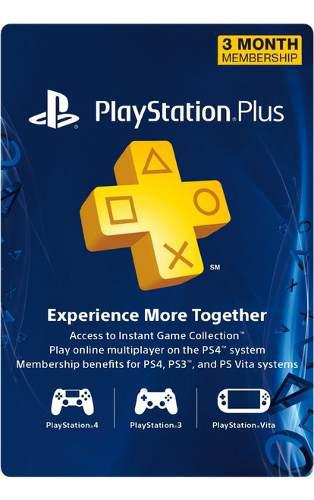 Mex-us Playstation Plus 3 Meses Multi-region Ps4 Ps3 Vita