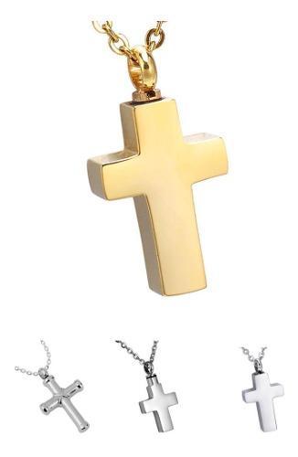 1 Collar Urna Relicario Cenizas Cruz Corazón Ángel