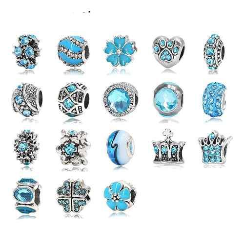 18 Charms Plata 925 Y Cristales Azul Compatibles Con Pandora