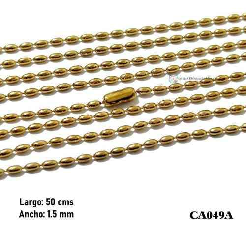 Cadena Balín Oval 50cms 1.5mm Acero Inoxidable Dorado