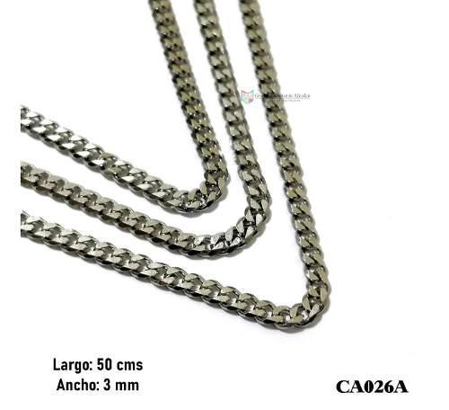 Cadena Barbada 50cms 3mm Acero Inoxidable Plateado