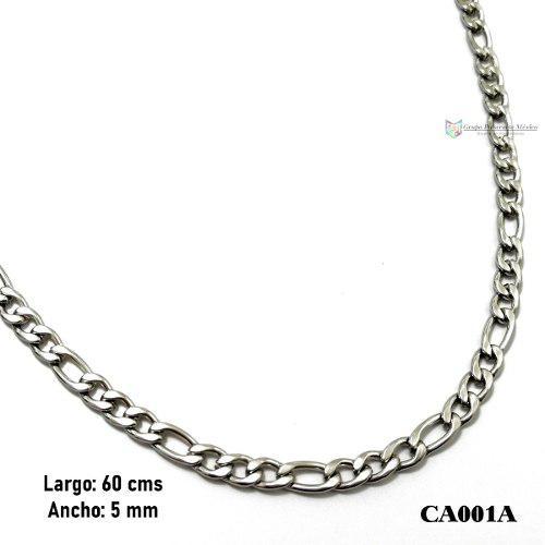 Cadena Caballero Tejido 3x1 60cms 5mm Acero Inox Plateado