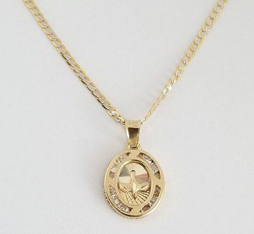 Cadena Con Dije Bebe Medalla Espíritu Santo Oro 14k-