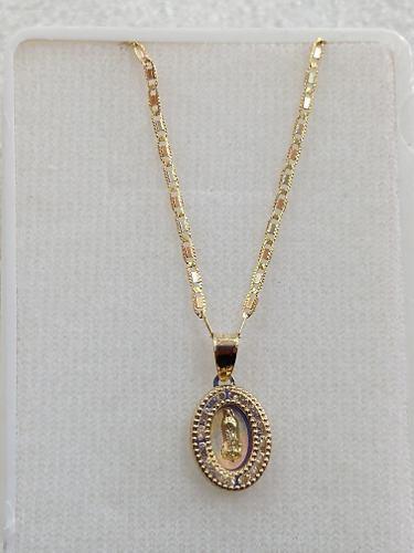 Cadena De Oro 10k Con Medalla De Guadalupe Para Bautizo