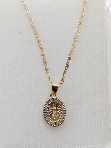 Cadena De Oro Con Medalla De Virgen Guadalupe Para Bautizo