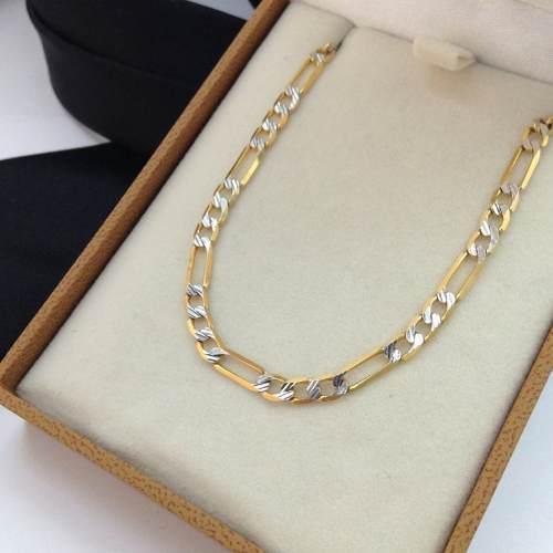 Cadena Figaro Diamantada Regalo Caballero 65cm Oro 14k Gbm
