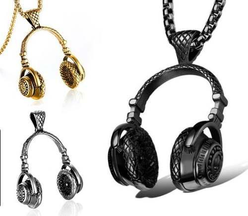 Collar Audífonos Dj + Cadena Gratis Acero Inoxidable