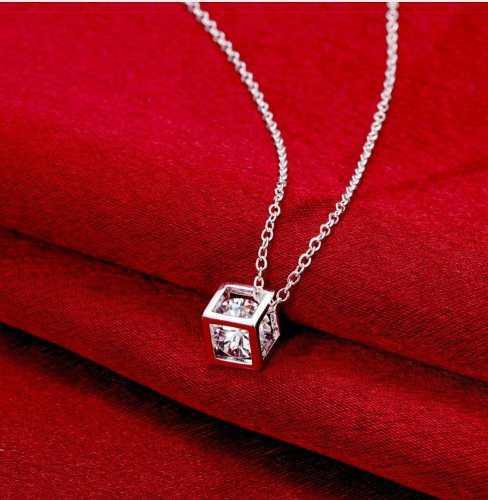 Collar Cadena Dije Cubo Con Zirconia Plata Ley.925
