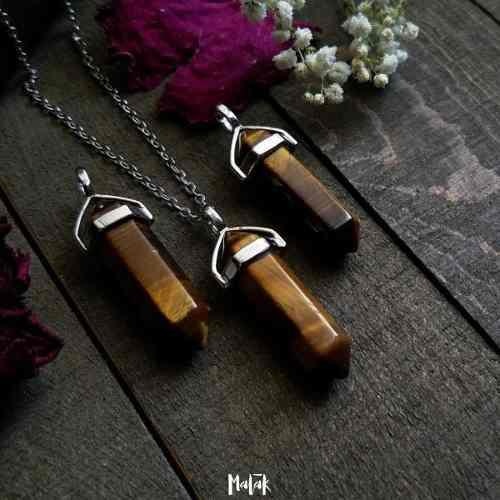 Collar Cuarzo Ojo De Tigre 4 Cm 100% Natural + Cadena Acero