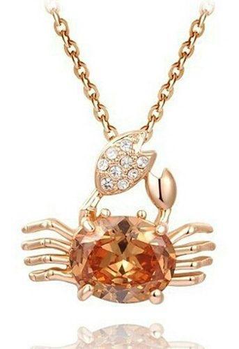 Collar De Cangrejo En Oro Rosa Y Cristla Austriaco