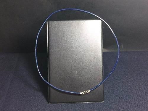 Collar De Caucho Azul Con Broche De Plata Ley 925 Taxco