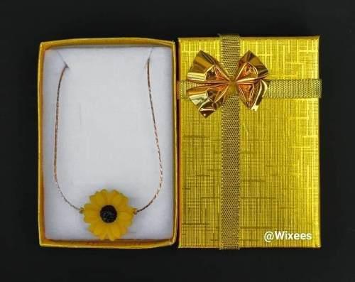 Collar De Girasol En Oro Laminado De 18k