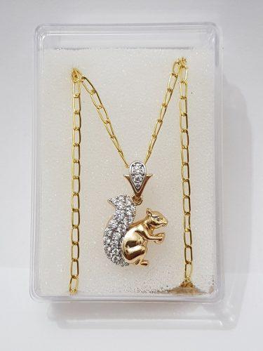 Collar Dije Ardilla Zirconias De Oro Laminado Envio Gratis
