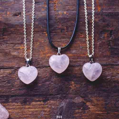 Collar Dije Corazón Auténtico Cuarzo Rosa + Cadena Acero