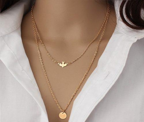 Collar Doble Con Dije De Ave Color Dorado Precio Mayoreo