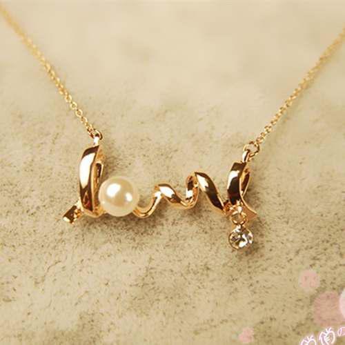 Collar Dorado Con Dije De Love A Precio De Mayoreo Mujer