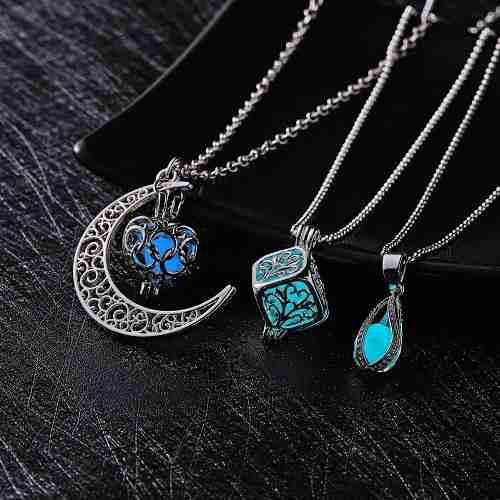 Collar Luna Corazón Brilla Oscuridad Original + Envió De
