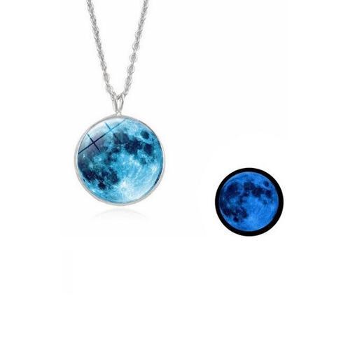 Collar Luna Llena Azul Brilla Oscuridad Collares Brillantes