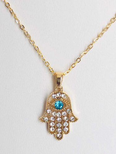 Collar Mano De Fatima Cristales Austriacos Y Oro 14k Lam.