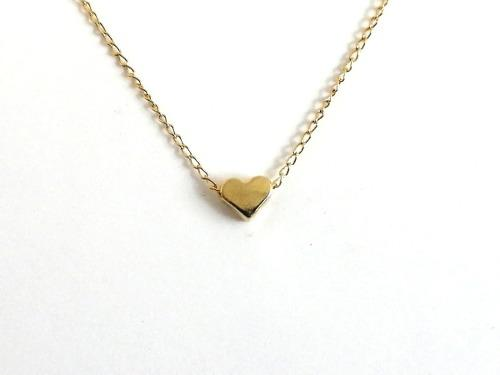 Collar Mujer Dije Mini Corazón Chapa Oro 14k Promoción