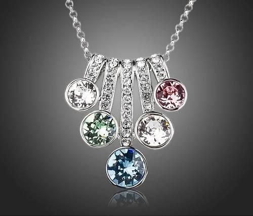 Collar Multicolor Swarovski Elements Oro Blanco 18kgp Envío