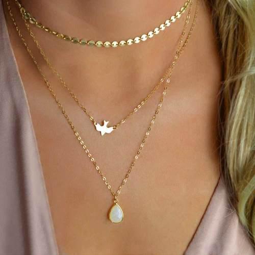 Collar Multiple Con Lentejuelas Y Cristal Color Dorado Mujer