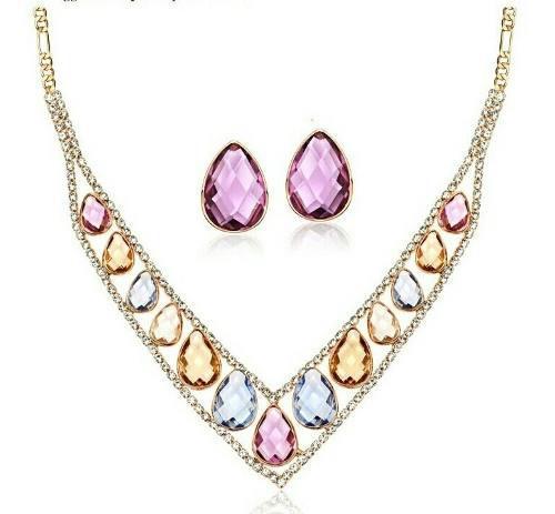 Collar Oro Rosa Y Aretes Con Swarovski Elements Envio Gratis