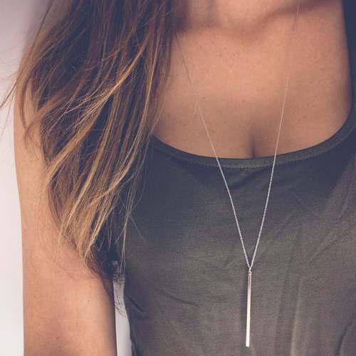 Collar Para Mujer Moderno Palo En Color Plateado Buen Precio