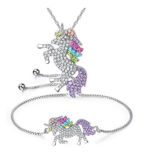 Collar Pulsera Cristales Colores Con Dije Animal Unicornio
