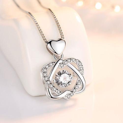 Collar S925 Dije Corazón Doble Cristal Swarovski Regalo