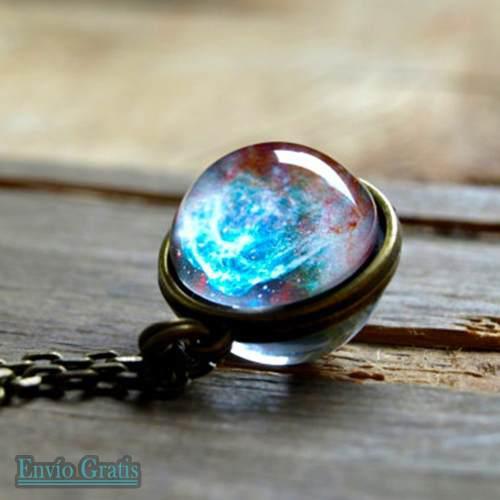 Collar Universo Nebulosa Bola Cristal Doble Cara Astronomía