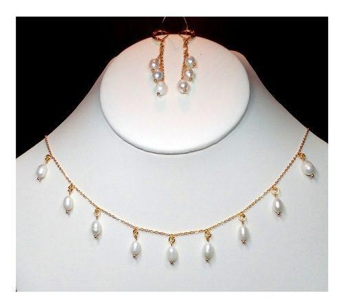Collar Y Aretes En Chapa De Oro Con Perla Cultivada A048