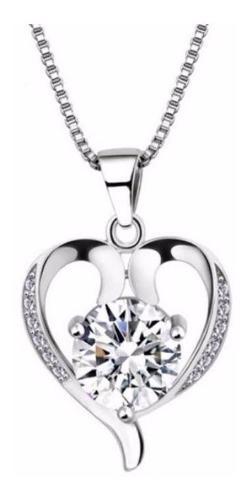 Collar Y Dije Plata.925 Swarovski Corazón Zirconias Mujer