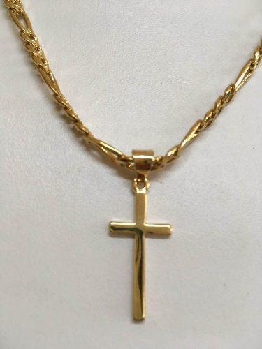 Cruz Lisa Con Cadena 60cm X 5mm En Chapa De Oro 22k