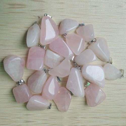 Cuarzo Rosa Piedra Natural Forma Irregular Dije Unisex Gf3s