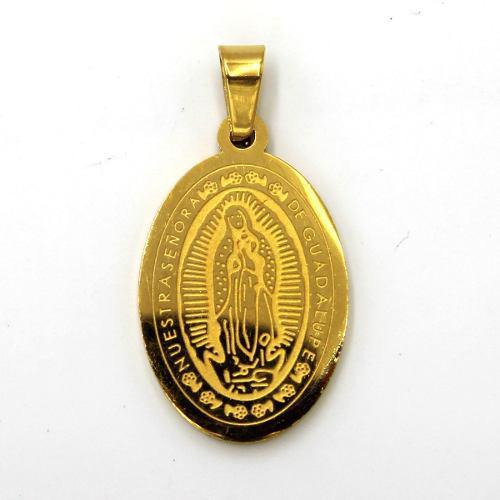 Dije Acero Dorado Señora Virgen Guadalupe Medalla Religiosa
