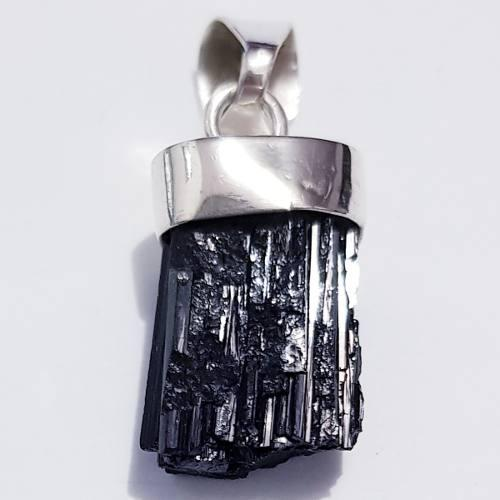 Dije Collar Turmalina Negra Cuarzos Natural En Plata 0.925